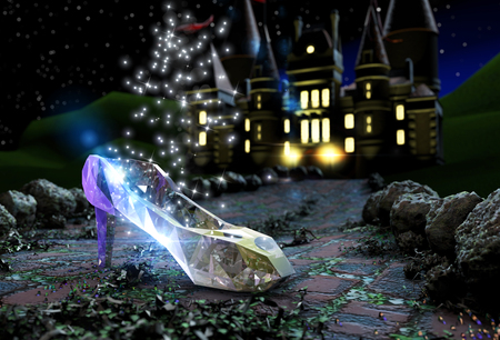 Photo for Cinderella's slipper on a road - Royalty Free Image