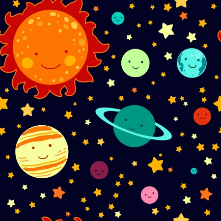 Kids style drawing solar system seamless pattern.