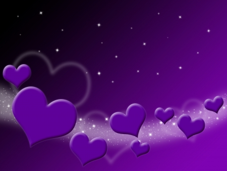 Valentines Day Card with purple Hearts and stars on starry background