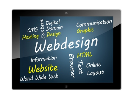 Tablet PC with Webdesign wordcloud concept illustration