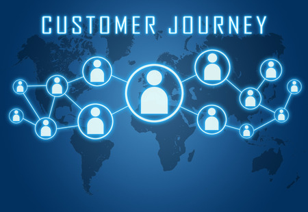 Customer Journey concept on blue background with world map and social icons.