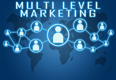 Multi Level Marketing concept on blue background with world map and social icons.