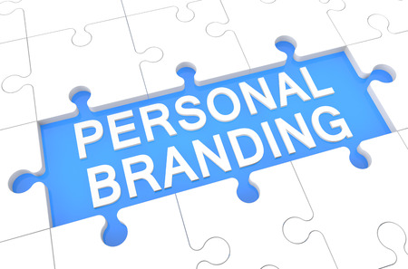 Personal Branding - puzzle 3d render illustration with word on blue background