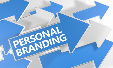 Personal Branding 3d render concept with blue and white arrows flying over a white background.
