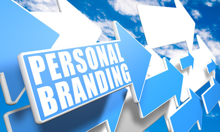 Personal Branding 3d render concept with blue and white arrows flying in a blue sky with clouds