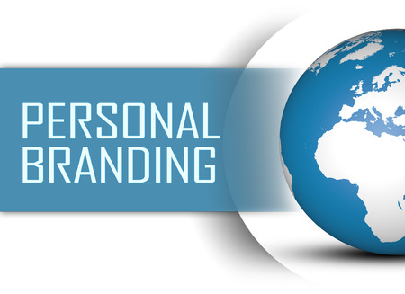 Personal Branding concept with globe on white background