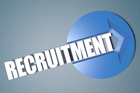 Recruitment - 3d text render illustration concept with a arrow in a circle on blue-grey background