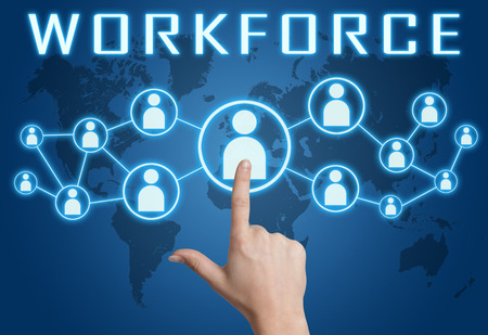 Workforce concept with hand pressing social icons on blue world map background.