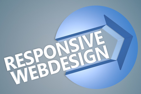Responsive Webdesign - 3d text render illustration concept with a