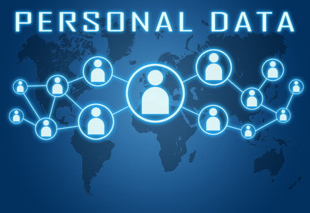 Personal Data concept on blue background with world map and social icons.
