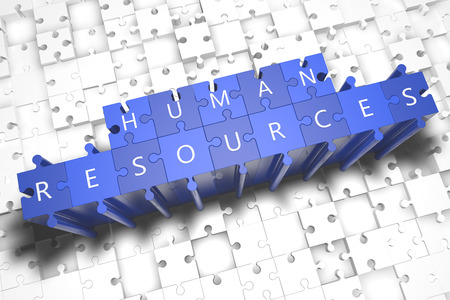 Human Resources - puzzle 3d render illustration with block letters on blue jigsaw pieces