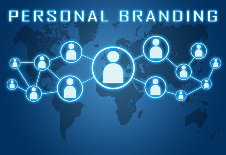 Personal Branding concept on blue background with world map and social icons.