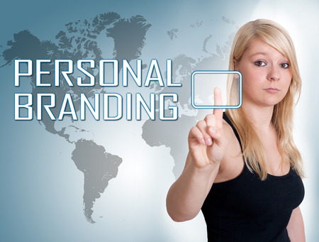 Young woman press digital Personal Branding button on interface in front of her