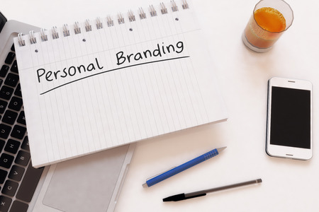 Personal Branding - handwritten text in a notebook on a desk - 3d render illustration.