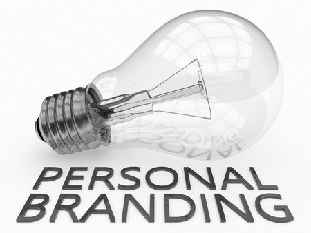 Personal Branding - lightbulb on white background with text under it. 3d render illustration.