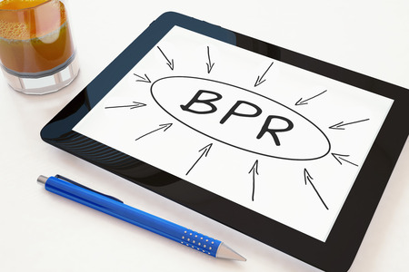 BPR - Business Process Reengineering - text concept on a mobile tablet computer on a desk - 3d render illustration.