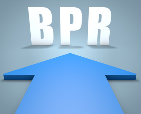 BPR - Business Process Reengineering - 3d render concept of blue arrow pointing to text.