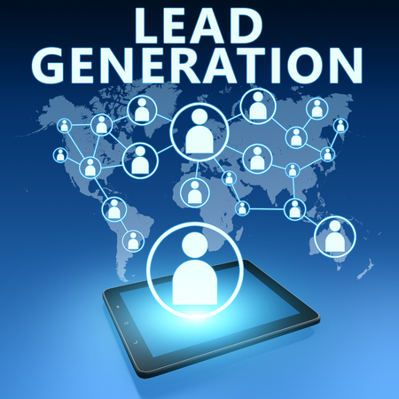 Lead Generation illustration with tablet computer on blue background