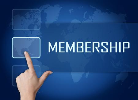 Membership concept with interface and world map on blue background