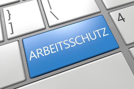 Arbeitsschutz - german word for work safety - keyboard 3d render illustration with word on blue key