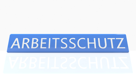 Arbeitsschutz - german word for work safety - 3d render blue box with text on it on white background with reflection