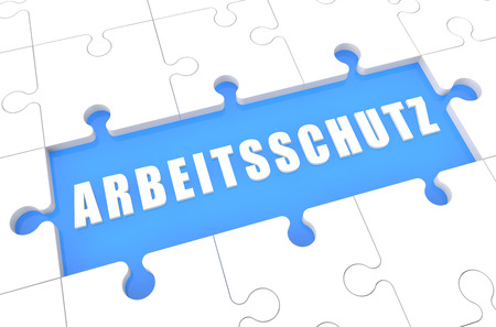 Arbeitsschutz - german word for work safety - puzzle 3d render illustration with word on blue background