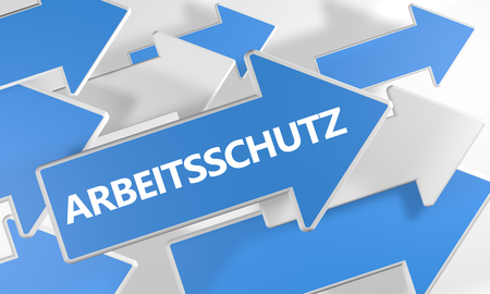 Arbeitsschutz - german word for employment protection - 3d render concept with blue and white arrows flying over a white background.