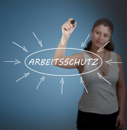 Arbeitsschutz - german word for work safety - young businesswoman drawing information concept on transparent whiteboard in front of her.