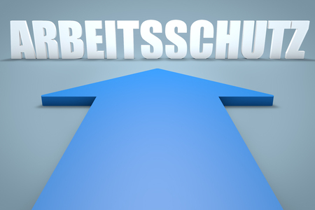 Arbeitsschutz - german word for work safety - 3d render concept of blue arrow pointing to text.