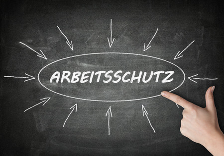 Arbeitsschutz - german word for work safety process information concept on blackboard with a hand pointing on it.
