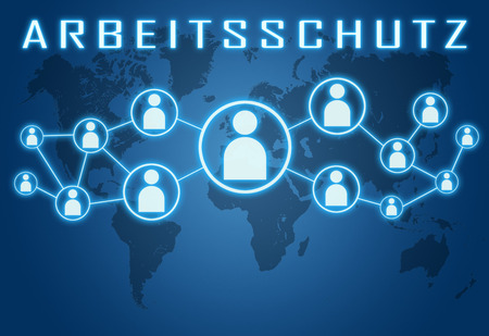 Arbeitsschutz - german word for work safety concept on blue background with world map and social icons.