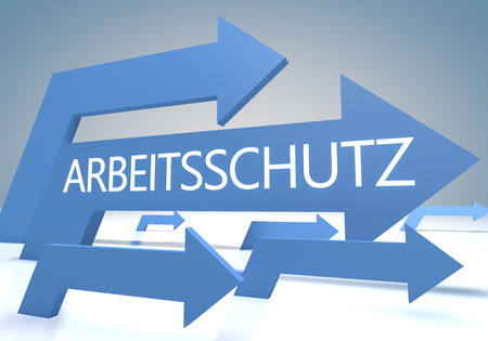 Arbeitsschutz - german word for employment protection - render concept with blue arrows on a bluegrey background.