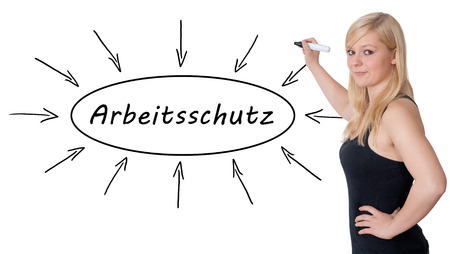 Arbeitsschutz - german word for work safety - young businesswoman drawing information concept on whiteboard.