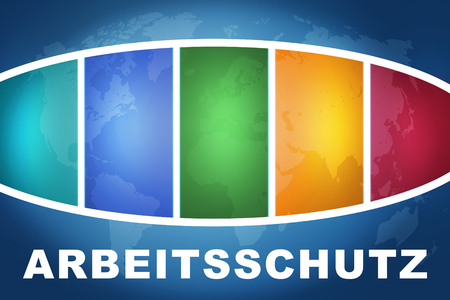 Arbeitsschutz - german word for work safety text illustration concept on blue background with colorful world map
