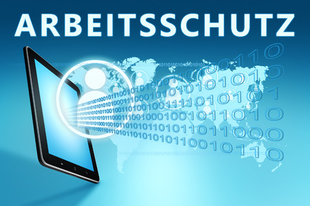 Arbeitsschutz - german word for work safety illustration with tablet computer on blue background