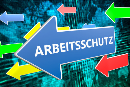 Arbeitsschutz - german word for work safety - text concept on blue arrow flying over green world map background. 3D render illustration.