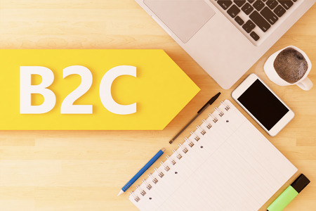 B2C - Business to Consumer - linear text arrow concept with notebook, smartphone, pens and coffee mug on desktop - 3d render illustration.