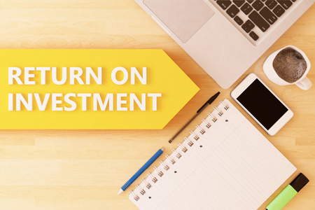 Return on Investment - linear text arrow concept with notebook, smartphone, pens and coffee mug on desktop - 3d render illustration.