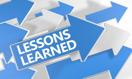 Lessons Learned text concept with blue and white arrows flying over a white