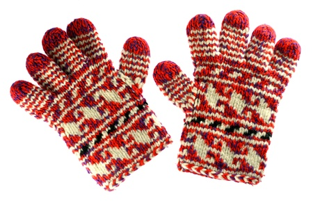 Winter red gloves isolated on white