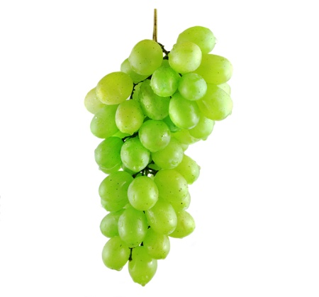 Wet grape bunch isolated on white background
