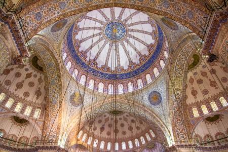 Ornamental interior of the Blue Mosque (Sultanahmet Camii), Istanbul, Turkey