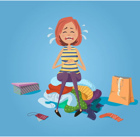 Illustration for Girls crying and sit on the pile of clothes - Royalty Free Image