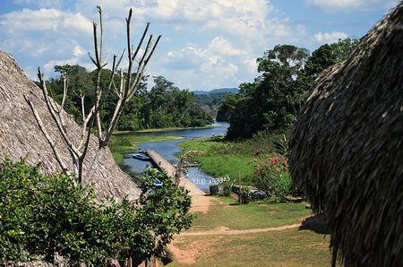 village in tropical jungle with river in the caribbean