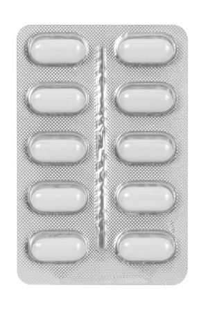 set of white pills in blister pack