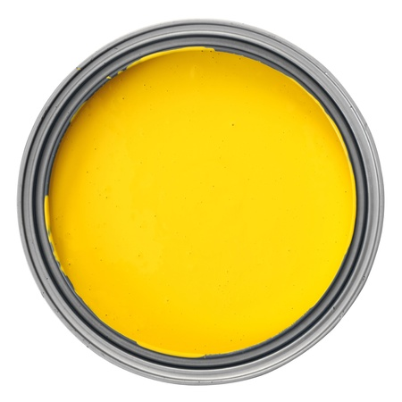 can with yellow paint over white background