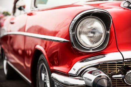 Photo pour Classic car with close-up on headlights - image libre de droit