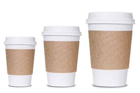 Photo pour Coffee cup sizes isolated on white background - image libre de droit