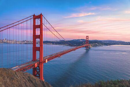 Photo for Golden Gate Bridge on sunset sky, San Francisco California - Royalty Free Image