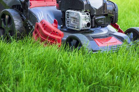 Foto de Lawn mower cutting green grass in backyard - Imagen libre de derechos
